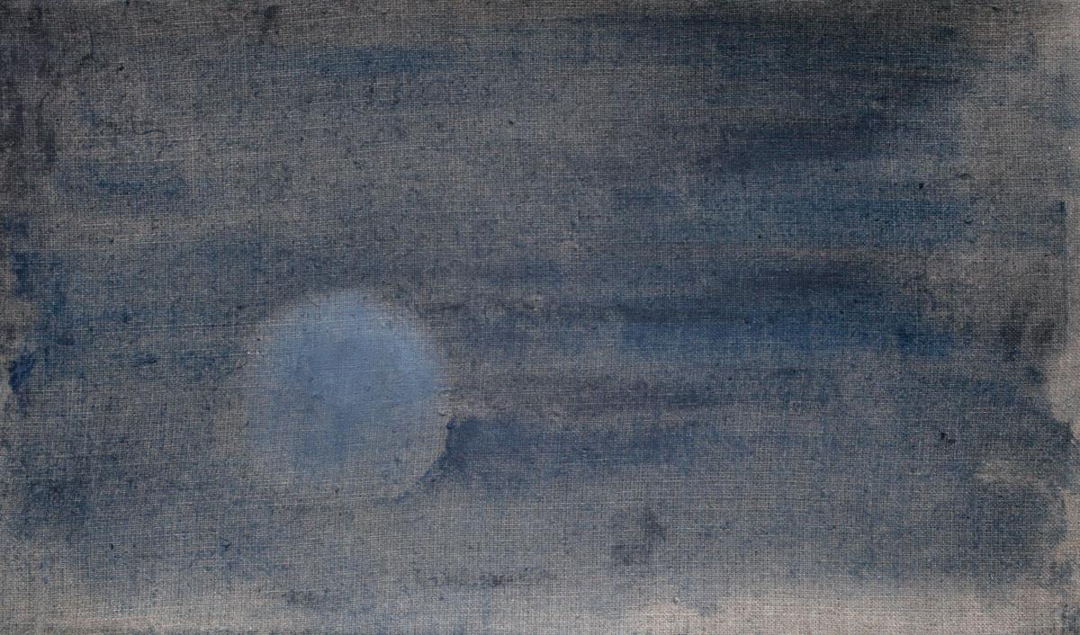 Einsame Kugel in Blautönen | 2019 | Öl / Leinwand | 20 × 40 cm