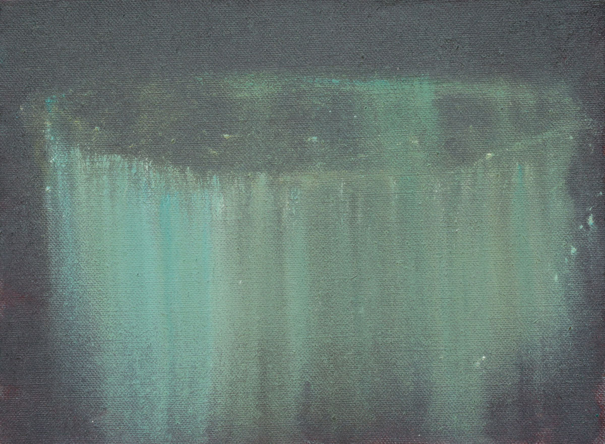 Fließendes Grün im Grau | 2020 | Öl / Leinwand | 30 × 35 cm