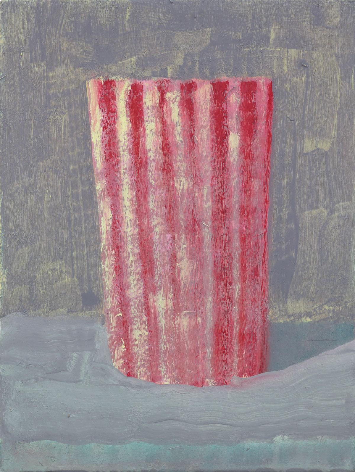 Becher Rot-Gelb-Grau | 2018 | Öl / Holz | 24 × 18 cm