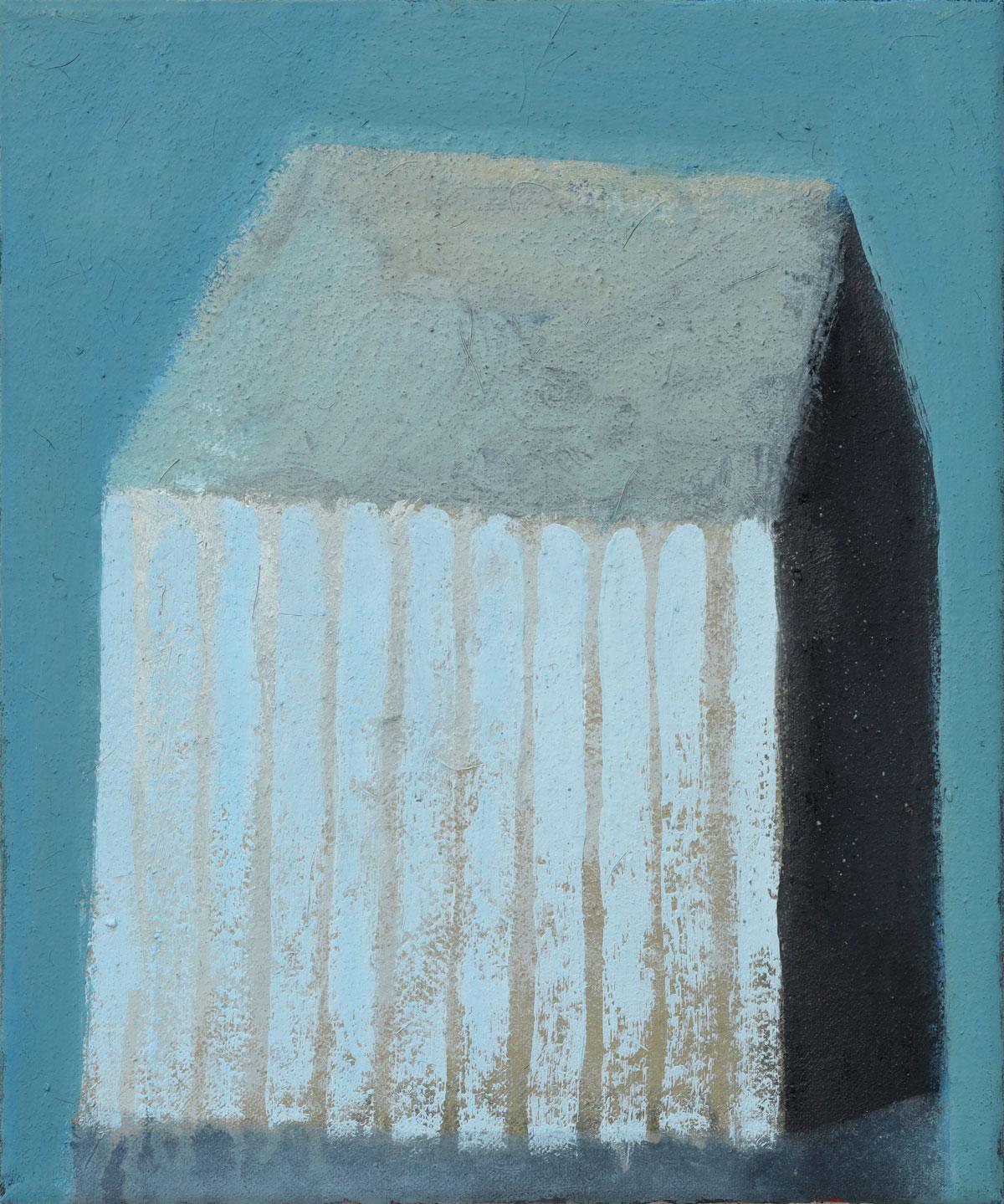 Streifenhaus Blau-Grau | 2020 | Öl / Leinwand | 30 × 25 cm