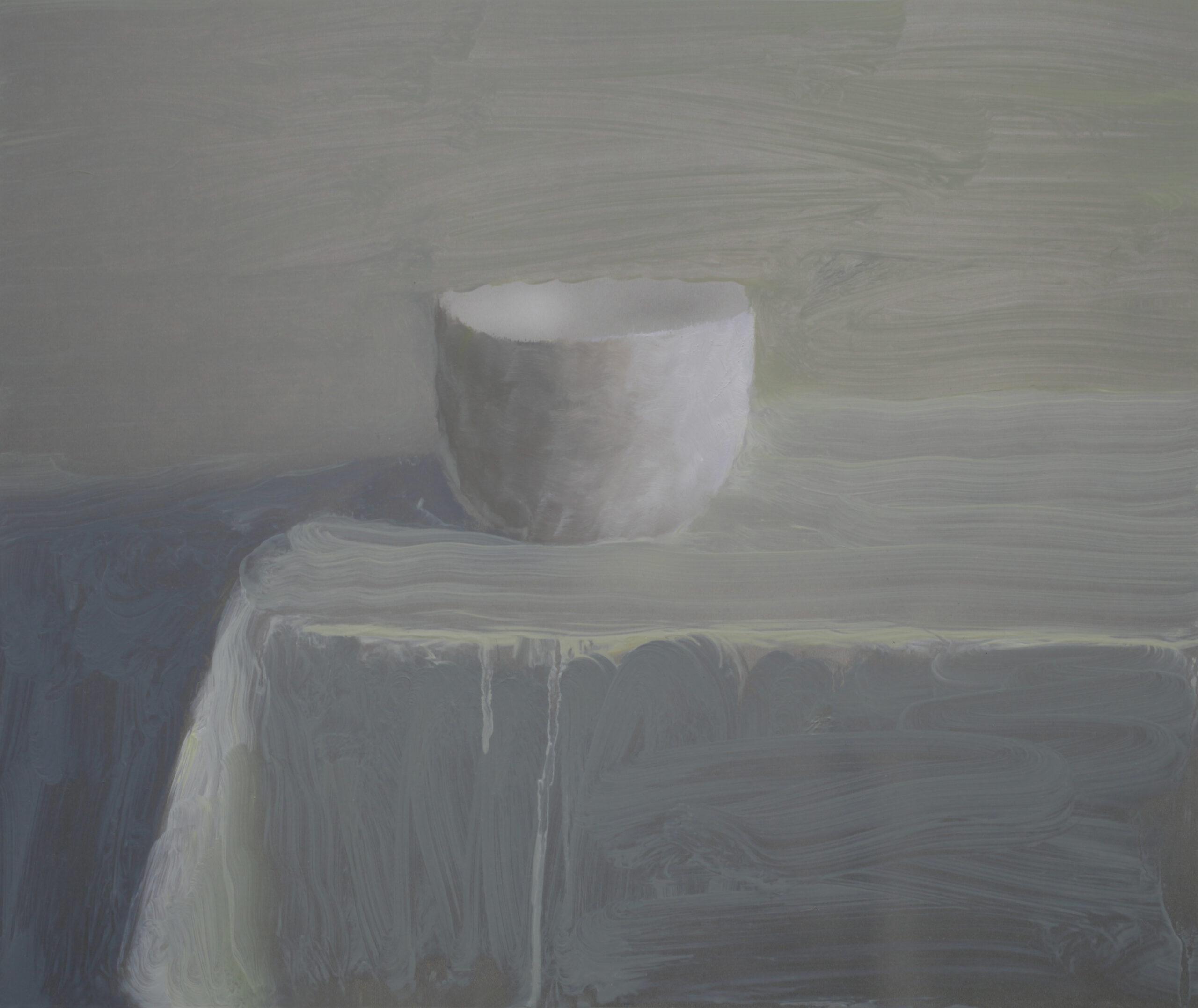 Weiße Tasse | 2019 | Übermalung Öl / Papier / Aluminium | 30 × 35 cm